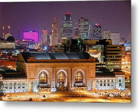 Jon Holiday - Kansas City Skyline at Ni... Print