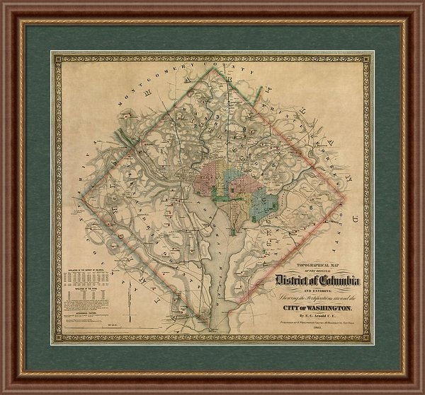 Blue Monocle - Antique Map of Washington... Print