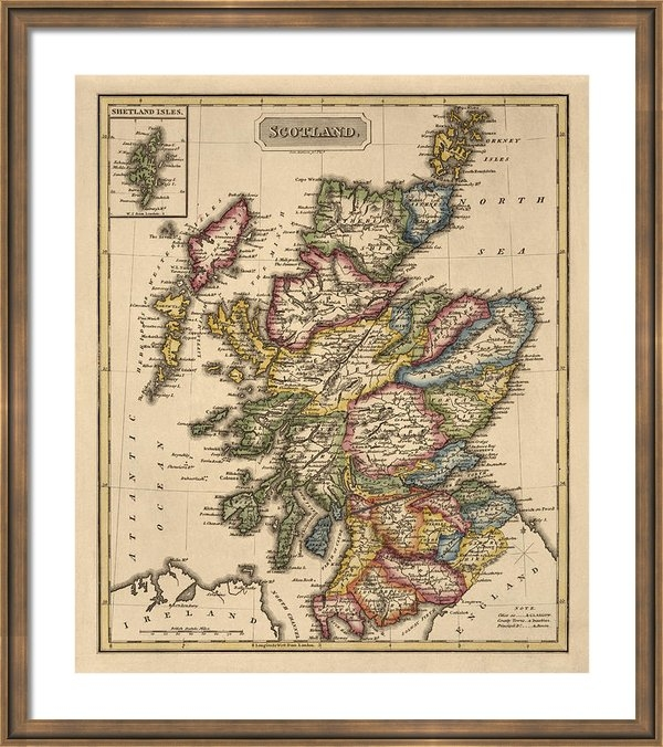 Blue Monocle - Antique Map of Scotland b... Print