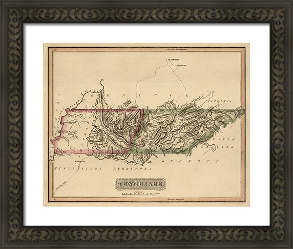 Blue Monocle - Antique Map of Tennessee ... Print