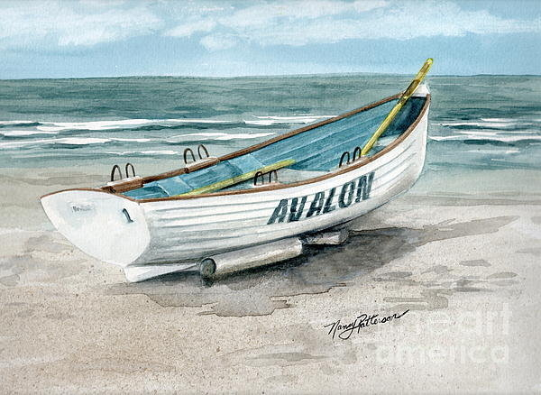 Nancy Patterson - Avalon Lifeguard Boat  Print