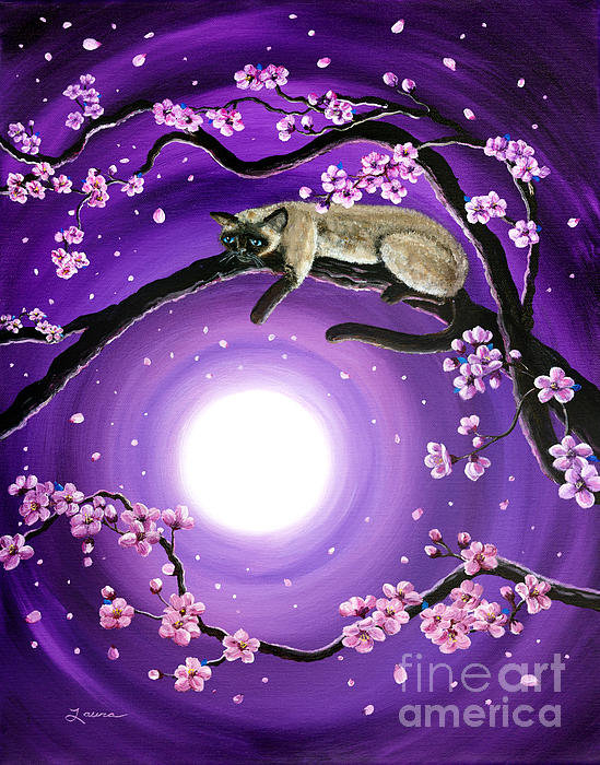 Laura Iverson - Purple Moonlight Sakura Print