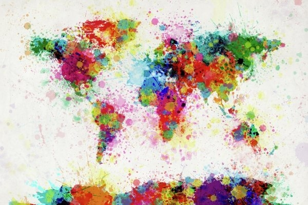 Michael Tompsett - World Map Paint Drop Print