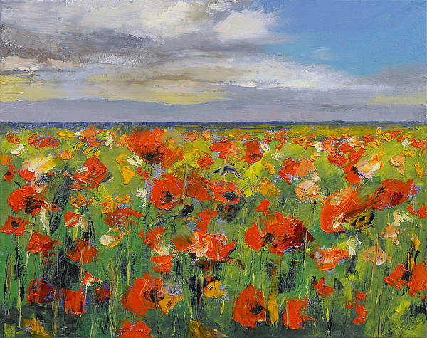 Michael Creese - Poppy Field with Storm Cl... Print