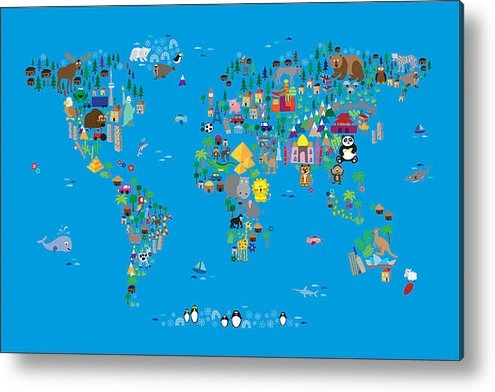 Michael Tompsett - Animal Map of the World f... Print