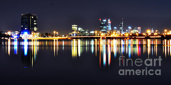 Phill Petrovic - Perth City Skyline at Nig... Print