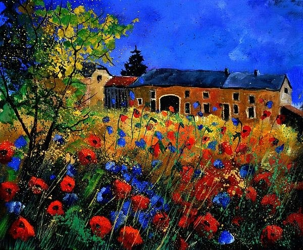 Pol Ledent - Red poppies in Houroy Print
