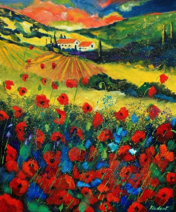 Pol Ledent - Poppies In Tuscany Print