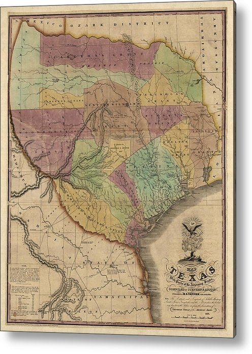 Blue Monocle - Antique Map of Texas by S... Print