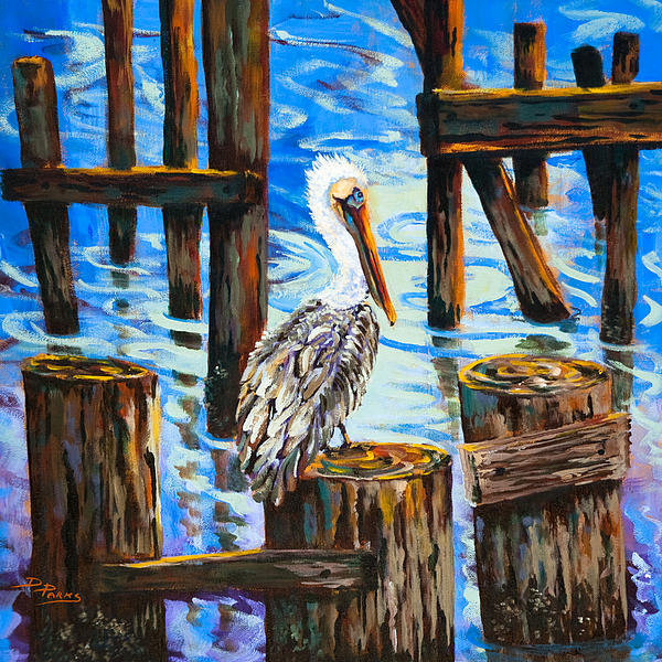 Dianne Parks - Pelican and Pilings Print