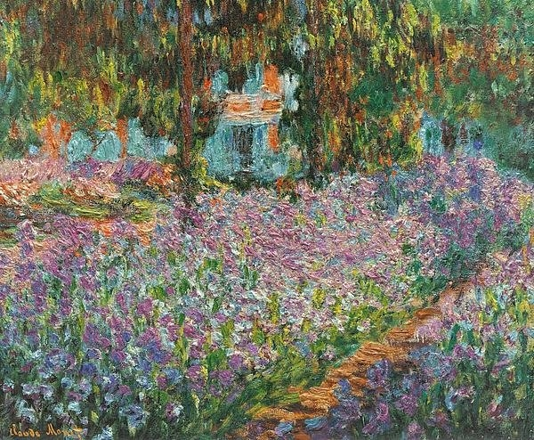 L Brown - Irises In Monets Garden Print