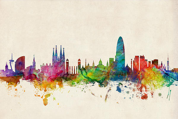 Michael Tompsett - Barcelona Spain Skyline Print