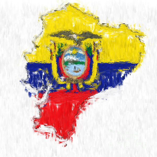 Antony McAulay - Ecuador Painted Flag Map Print