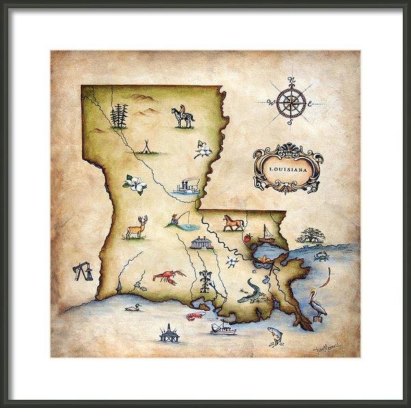 Judy Merrell - Louisiana Map Print