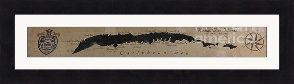 Steven Parker - Map of Roatan Bay Islands Print