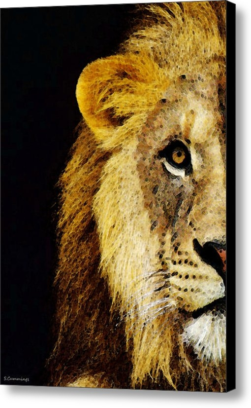 Sharon Cummings - Lion Art - Face Off Print