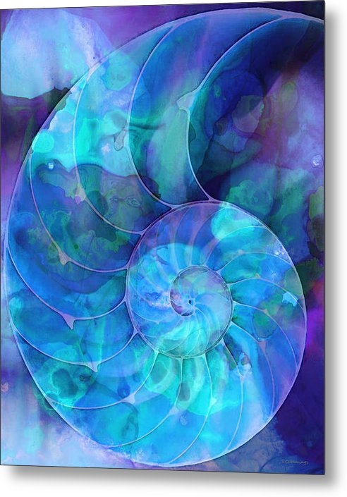 Sharon Cummings - Blue Nautilus Shell By Sh... Print