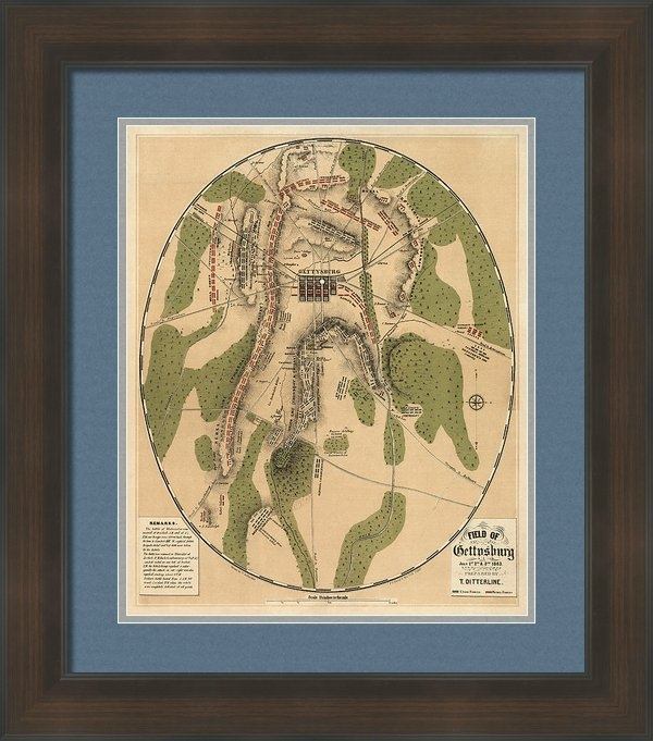 Blue Monocle - Antique Map of the Battle... Print