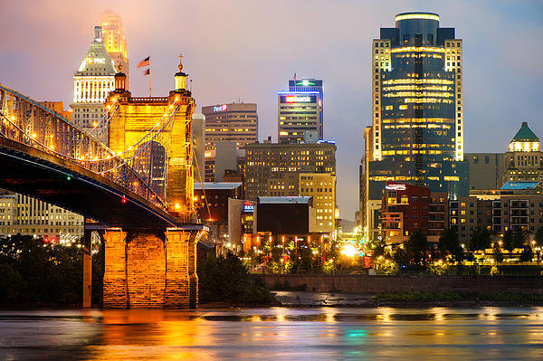 Gregory Ballos - Cincinnati Skyline and th... Print