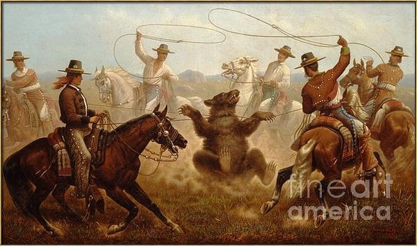 Pg Reproductions - Vaqueros Roping a Bear Print