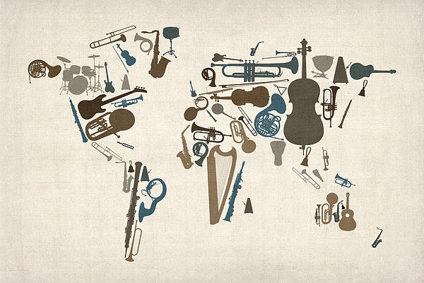 Michael Tompsett - Musical Instruments Map o... Print