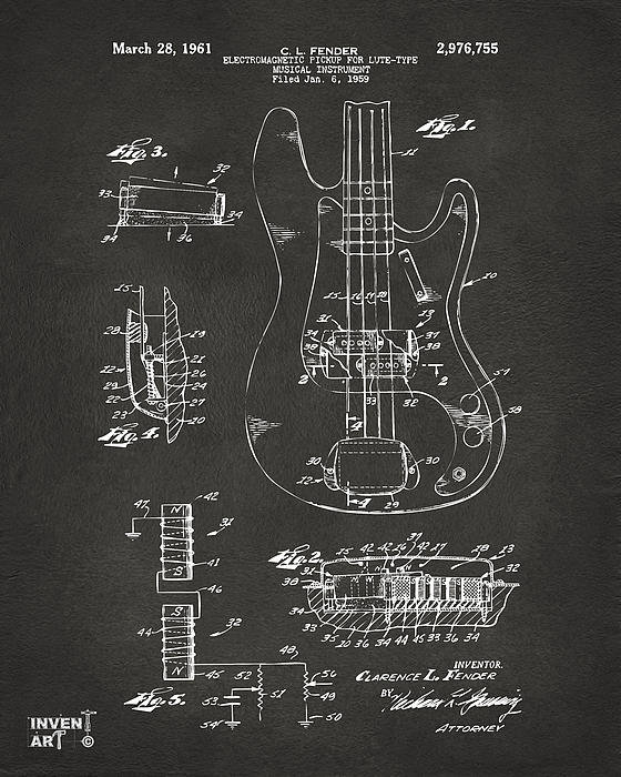Nikki Marie Smith - 1961 Fender Guitar Patent... Print
