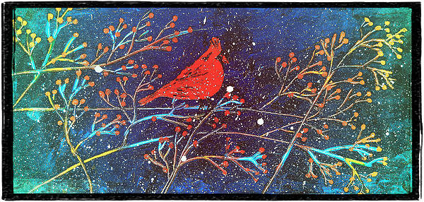 Laura  Carter - Red Cardinal Bird On Bran... Print