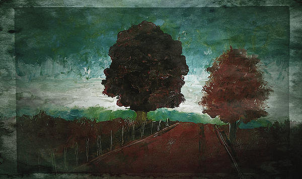 Laura  Carter - Rural Landscape Red Green... Print