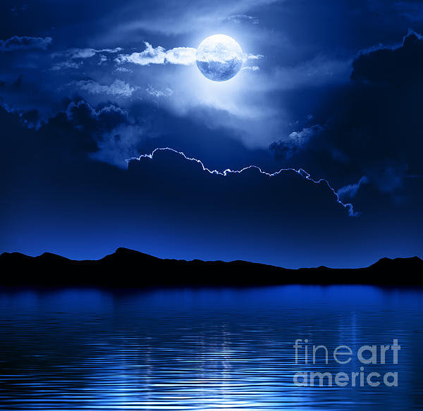 Johan Swanepoel - Fantasy Moon and Clouds o... Print