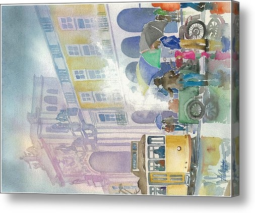 Telmo Bento-Machado - winter in Comercio Square Print