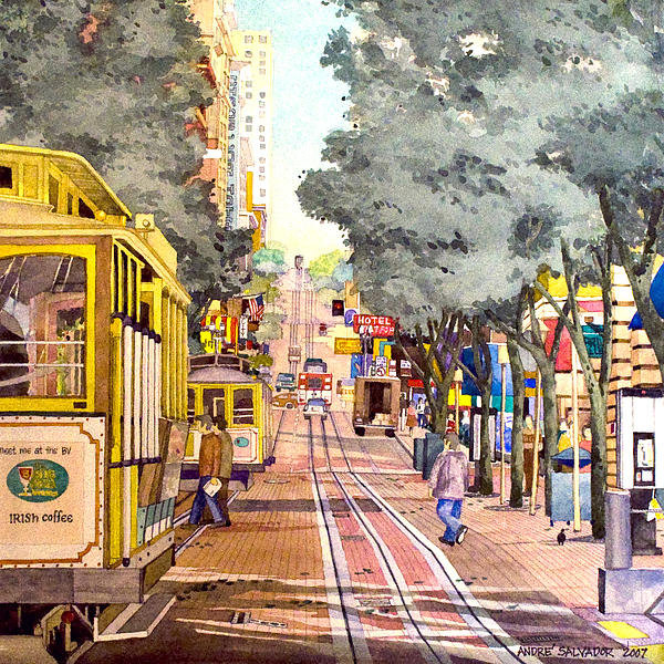 Andre Salvador - Cable Cars on Powell Stre... Print