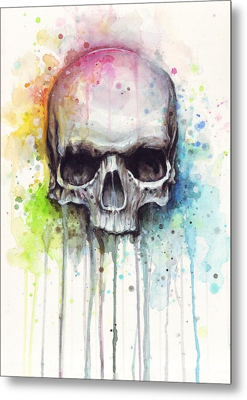 Olga Shvartsur - Skull Watercolor Painting Print