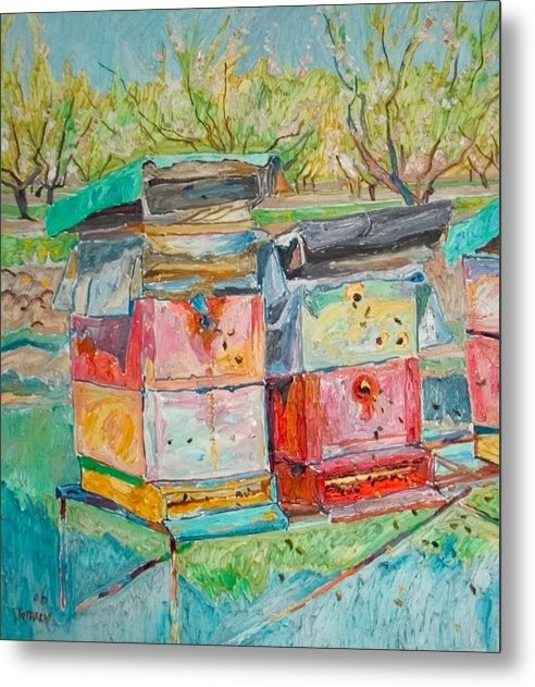 Vitali Komarov - Beehives in orchard Print