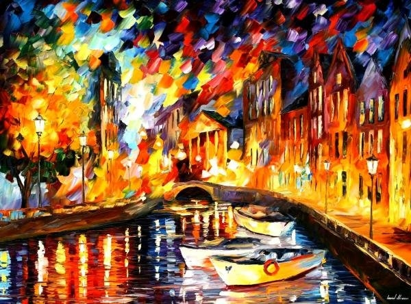 Leonid Afremov - After The River Turns Print