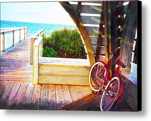 Jane Schnetlage - Red Bike On Beach Boardwa... Print