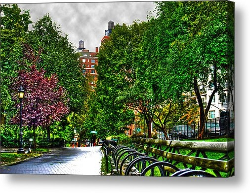 Randy Aveille - Rainy Riverside Park Print