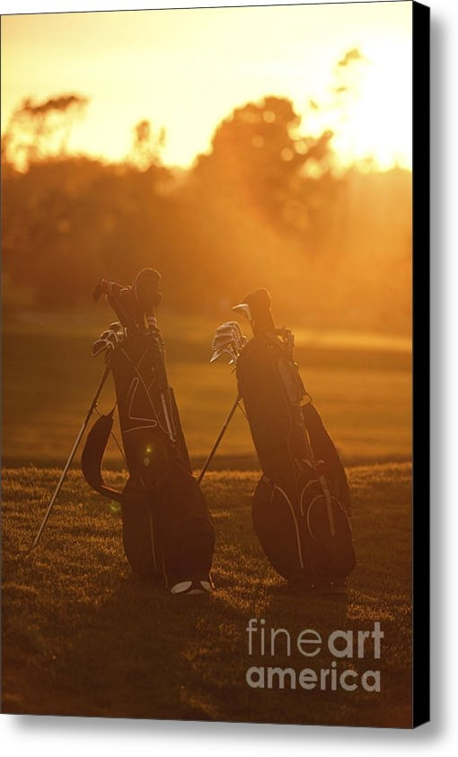 Diane Diederich - Golf bags at sunset Print