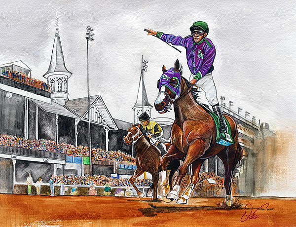 Dave Olsen - Kentucky Derby winner Cal... Print