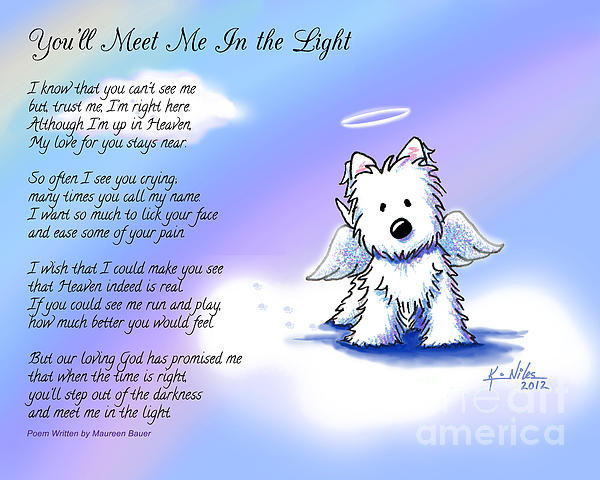 Kim Niles - Angel Westie With Poem Print