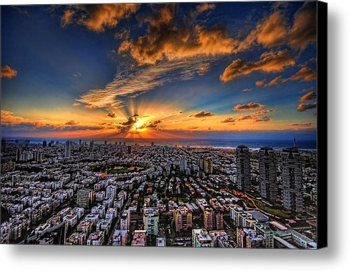 Ron Shoshani - Tel Aviv sunset time Print