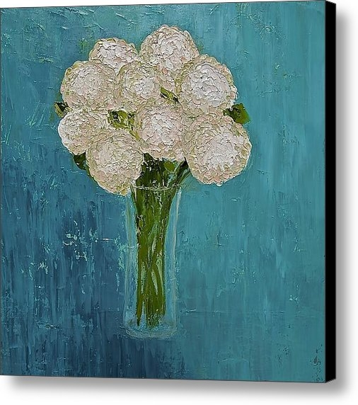 Sonja Austell - Hydrangeas on Teal Backgr... Print