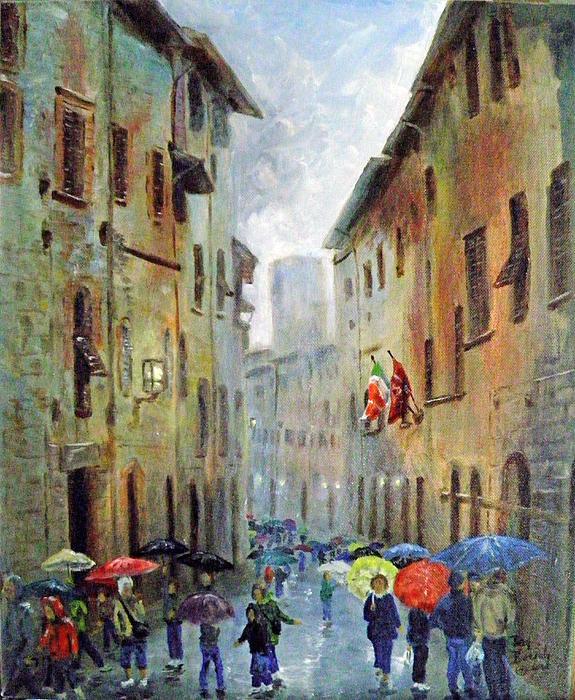 Dan Bozich - Rain in San Gimignano Print