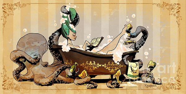 Brian Kesinger - Bath Time With Otto Print