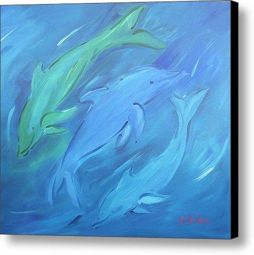 Sally Huss - Three Dolphins Print