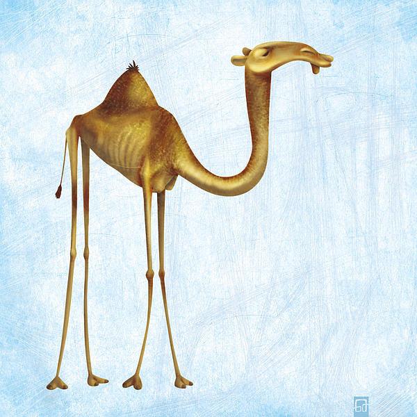 Gorka Aranburu - Camel on blue background Print