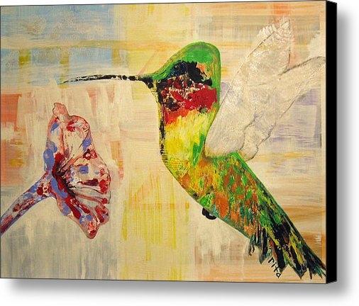 Rita Omark - Hummingbird and Flower Print
