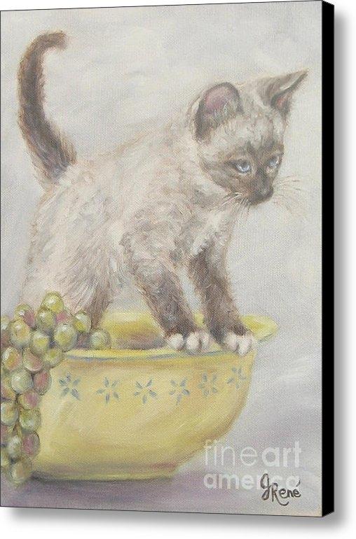 Gayle Rene - Siamese Kitten in a Yello... Print