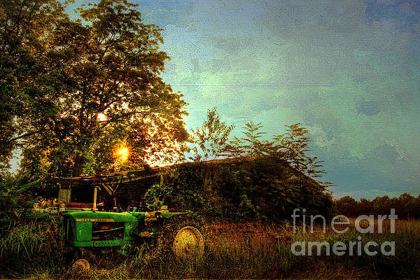 Benanne Stiens - Sunset on Tractor Print