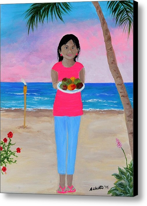 Amy Scholten - Girl on a Beach with Mang... Print