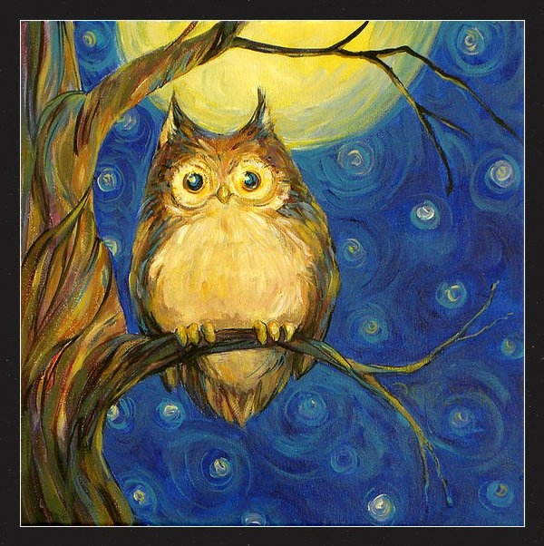 Peggy Wilson - Owl in Starry Night Print